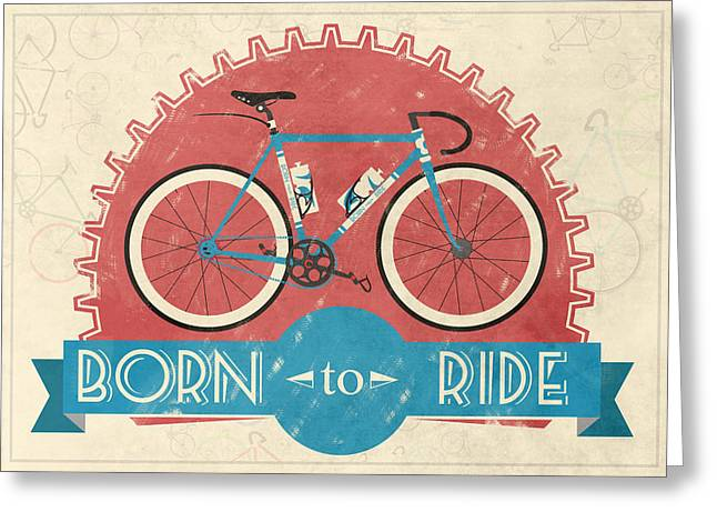 Shapes Greeting Cards - Are you born to ride your bike? Greeting Card by Andy Scullion