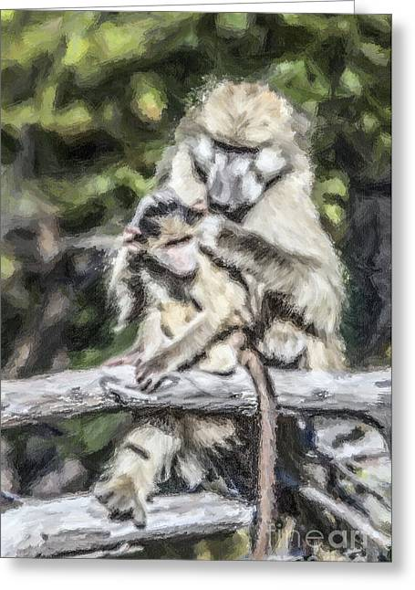 Wild Greeting Cards - Are your ears clean? Mother love Greeting Card by Liz Leyden