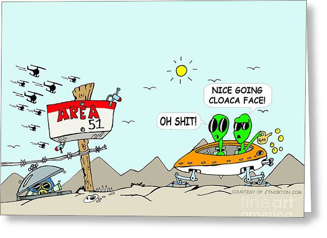 Werid Greeting Cards - Area 51 Greeting Card by Jack Norton