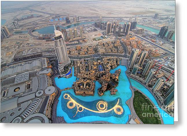 Burj Greeting Cards - Areal View over Dubai Greeting Card by Lars Ruecker