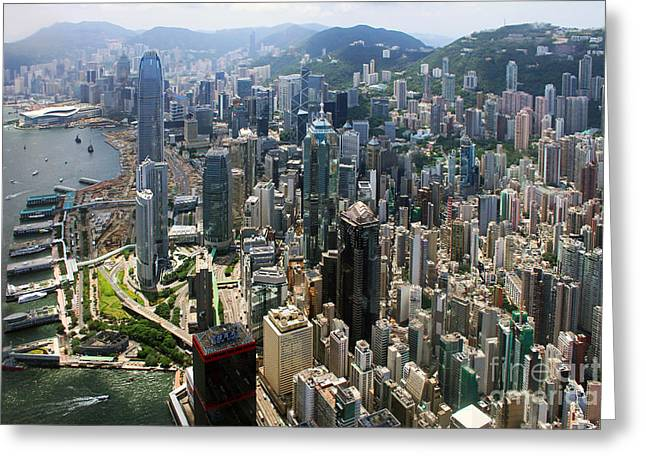 Hongkong Greeting Cards - Areal View over Hong Kong Greeting Card by Lars Ruecker