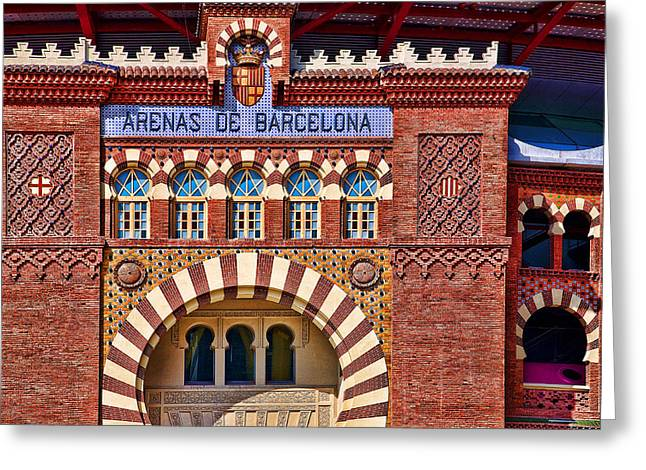 Architectural Treasure Greeting Cards - Arenas de Barcelona Greeting Card by Joanna Madloch