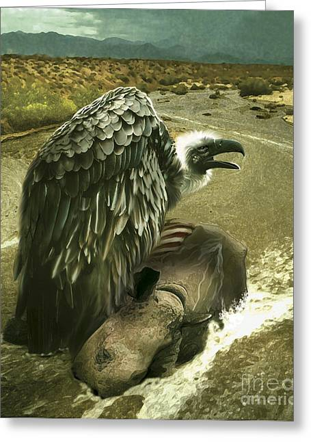 Stream Digital Art Greeting Cards - Argentavis Perched On The Carcass Greeting Card by Jan Sovak
