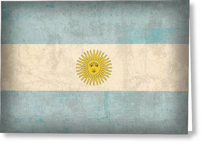 Argentina Greeting Cards - Argentina Flag Vintage Distressed Finish Greeting Card by Design Turnpike
