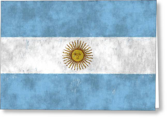 Decorative. Country Greeting Cards - Argentina Flag Greeting Card by World Art Prints And Designs