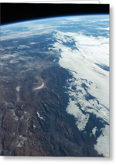 Planet Earth Greeting Cards - Argentina from space, ISS image Greeting Card by Science Photo Library