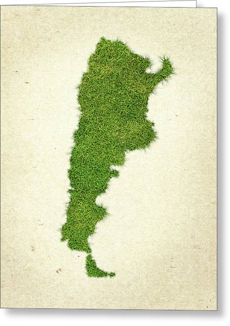 Planet Map Mixed Media Greeting Cards - Argentina Grass Map Greeting Card by Aged Pixel
