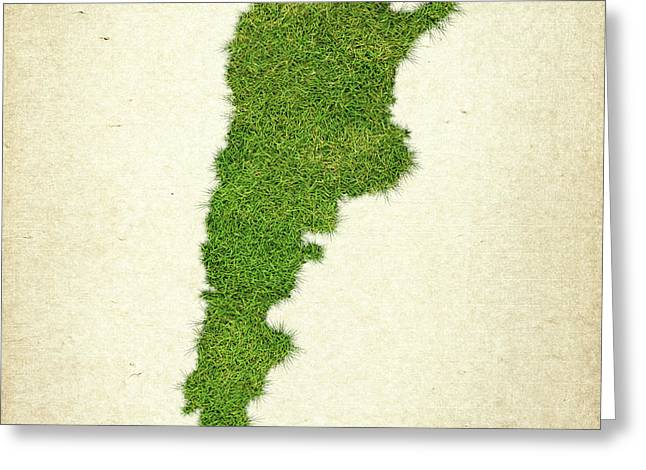 Argentina Grass Map Greeting Card by Aged Pixel