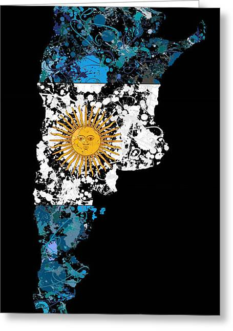 Cartography Greeting Cards - Argentina Map flag Greeting Card by Marion De Lauzun