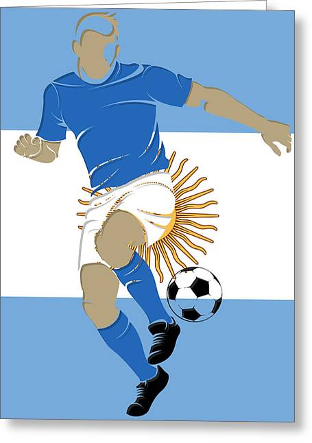 Soccer Goal Greeting Cards - Argentina Soccer Player2 Greeting Card by Joe Hamilton