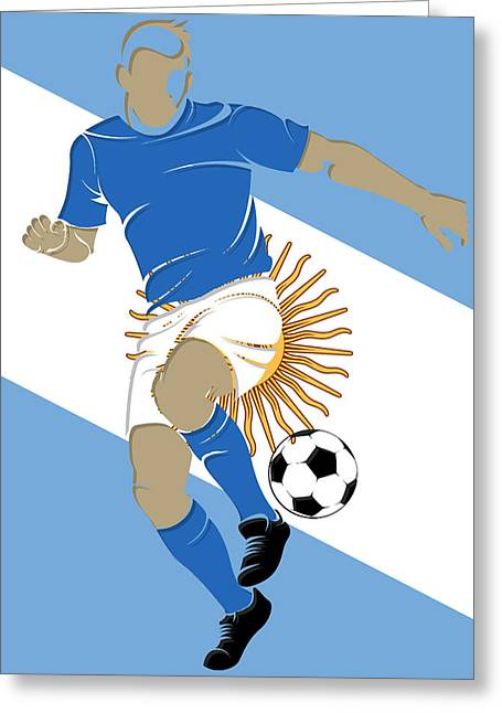 Soccer Goal Greeting Cards - Argentina Soccer Player3 Greeting Card by Joe Hamilton