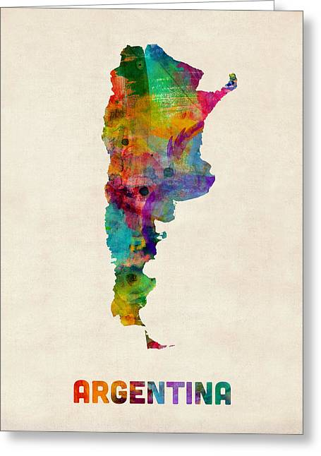 Buenos Aires Art Greeting Cards - Argentina Watercolor Map Greeting Card by Michael Tompsett