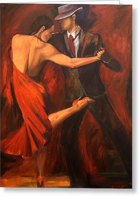 Latin Dance Greeting Cards - Argentine Tango Greeting Card by Sheri  Chakamian