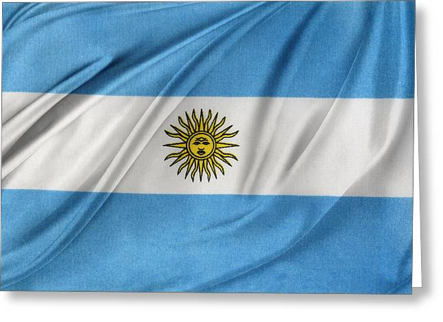Waving Flag Greeting Cards - Argentinian flag Greeting Card by Les Cunliffe