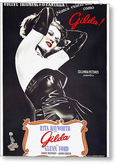 Film Noir Mixed Media Greeting Cards - Argentinian poster of Gilda Greeting Card by Art Cinema Gallery