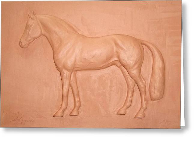 Print Reliefs Greeting Cards - ARGILIO DH- sport horse-sculpture relief Greeting Card by Dorota Zdunska