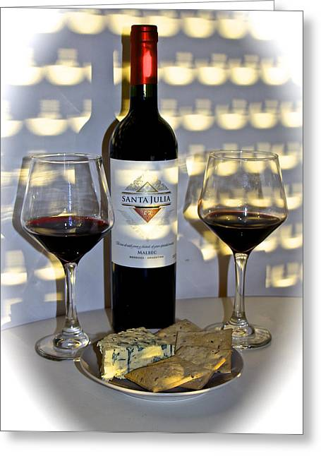 Malbec Photographs Greeting Cards - Argentine Previa Wine and Cheese Greeting Card by Venetia Featherstone-Witty