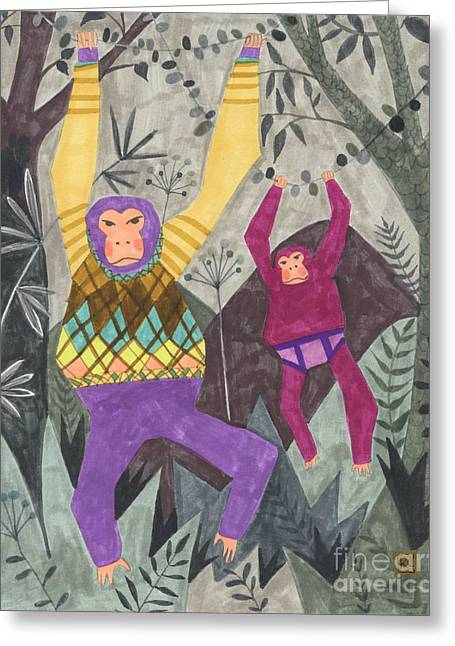 Gorilla Drawings Greeting Cards - Argyle and Underpants Greeting Card by Kate Cosgrove