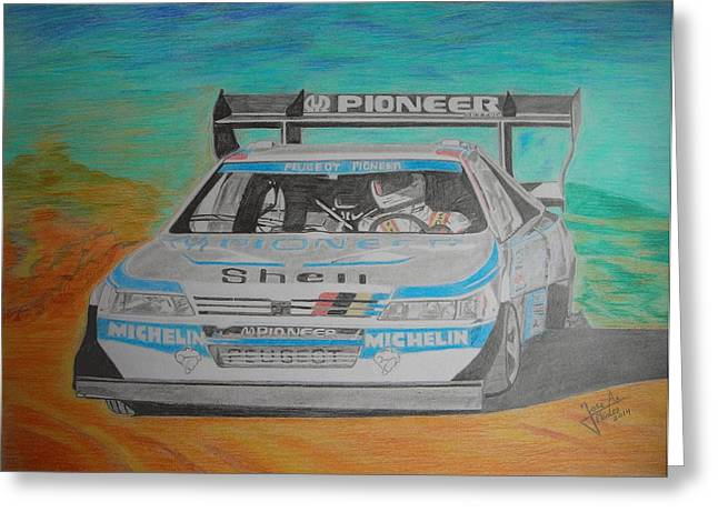 Rally Drawings Greeting Cards - Ari Vatanen Greeting Card by Jose Mendez