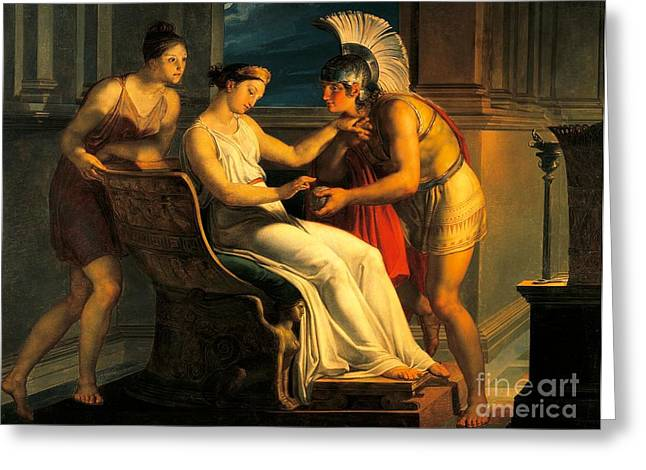 Labyrinth Greeting Cards - Ariadne giving some thread to Theseus to leave labyrinth Greeting Card by Pelagius Palagi