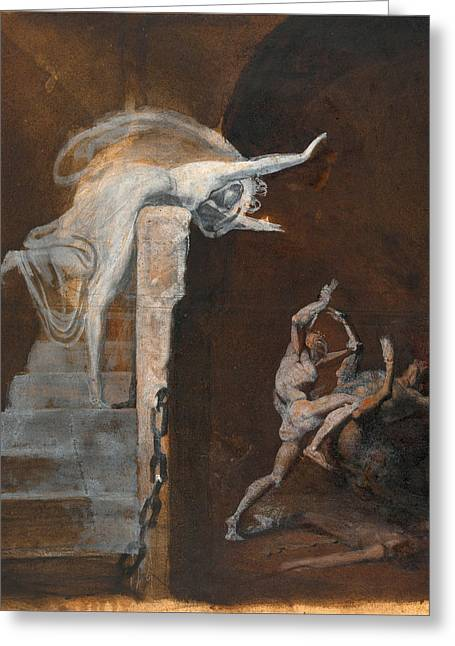 Henry Fuseli Greeting Cards - Ariadne Watching the Struggle of Theseus with the Minotaur Greeting Card by Henry Fuseli