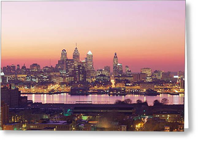 Brightly Lit Greeting Cards - Arial View Of The City At Twilight Greeting Card by Panoramic Images