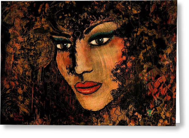 Face Tattoo Mixed Media Greeting Cards - Ariana Greeting Card by Natalie Holland