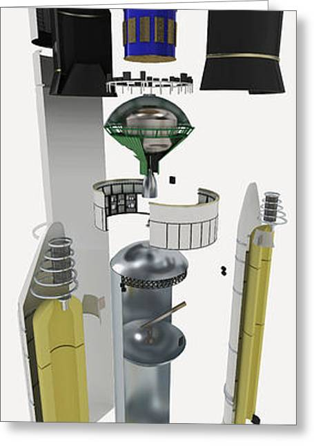 Disassembled Greeting Cards - Ariane 5 Rocket, Exploded View Greeting Card by Nikid Design Ltd / Dorling Kindersley