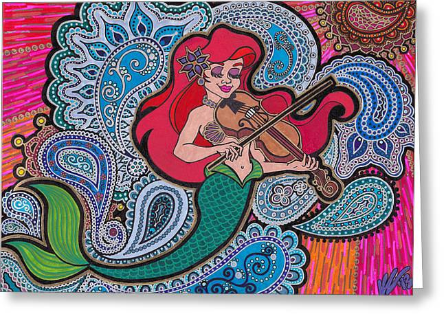 Seashell Drawings Greeting Cards - Ariel and her violin Greeting Card by Keri Costello