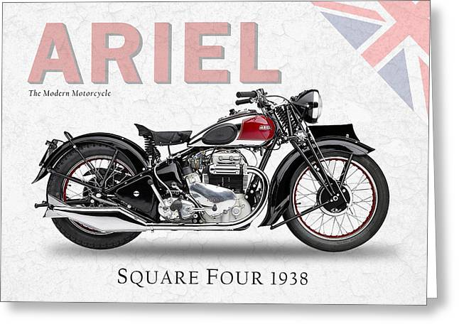 Motorcycle Photographs Greeting Cards - Ariel Square Four 1938 Greeting Card by Mark Rogan