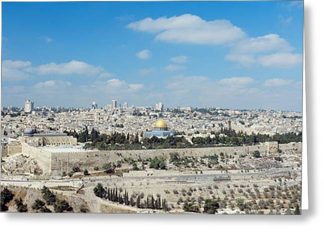 Jewish History Greeting Cards - Ariel View Of The Western Wall Greeting Card by Panoramic Images