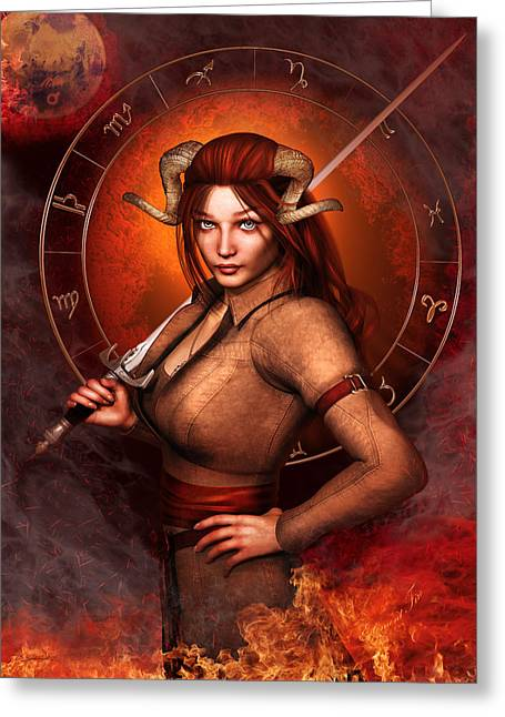 Aries Fantasy Zodiac Edition Greeting Card by Britta Glodde