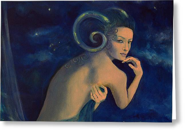 Constellations Paintings Greeting Cards - Aries from Zodiac series Greeting Card by Dorina  Costras
