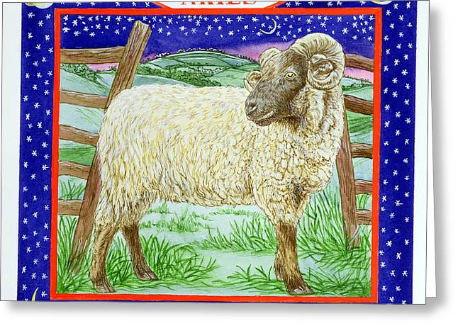 March Greeting Cards - Aries Wc On Paper Greeting Card by Catherine Bradbury