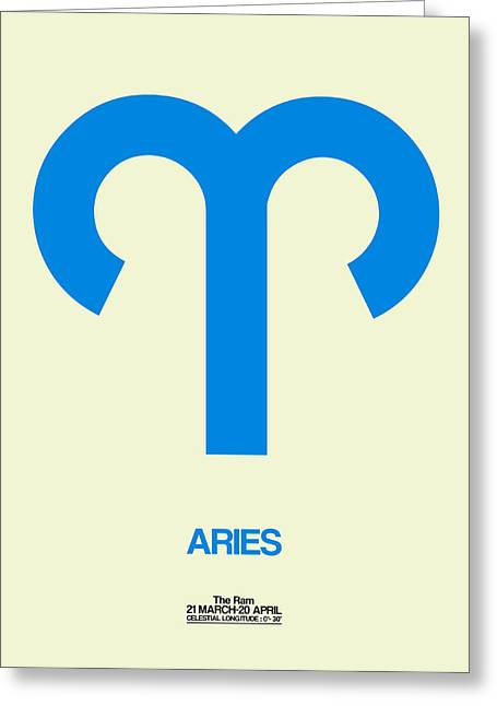 Signed Digital Art Greeting Cards - Aries Zodiac Sign Blue Greeting Card by Naxart Studio