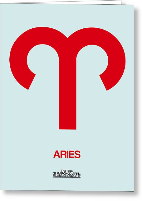 Aries Zodiac Sign Red Greeting Card by Naxart Studio