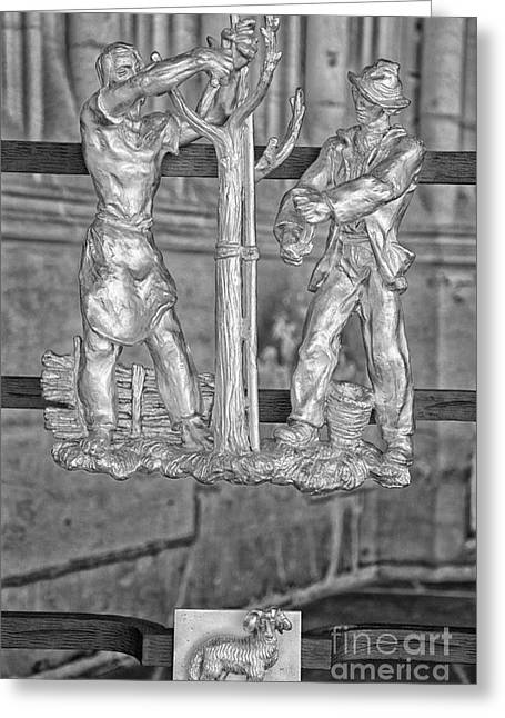 Vitus Greeting Cards - Aries Zodiac Sign - St Vitus Cathedral - Prague - Black and White Greeting Card by Ian Monk