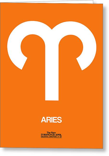 Aries Zodiac Sign White On Orange Greeting Card by Naxart Studio