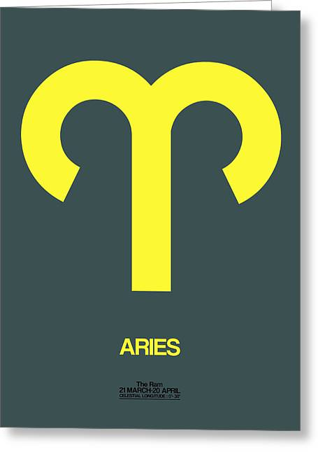 Signed Digital Art Greeting Cards - Aries Zodiac Sign Yellow Greeting Card by Naxart Studio
