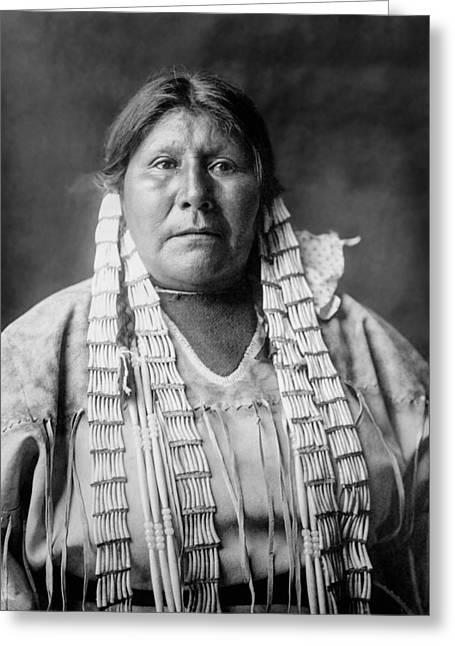 Braid Greeting Cards - Arikara woman circa 1908 Greeting Card by Aged Pixel