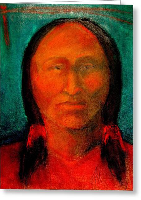 Native American Theme Greeting Cards - Arikara Woman Greeting Card by Johanna Elik