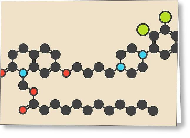 Aripiprazole Lauroxil Drug Molecule Greeting Card by Molekuul