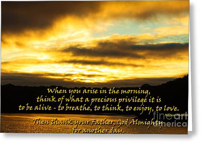 Privilege Greeting Cards - Arise in the Morning Greeting Card by Sandra Clark