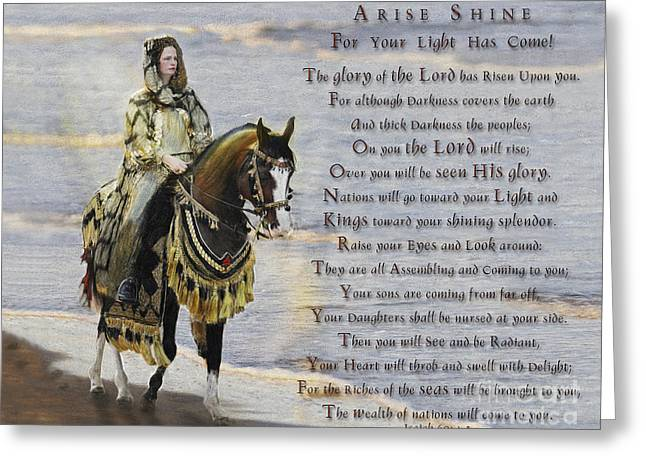 Isaiah Paintings Greeting Cards - Arise Shine War Horse Greeting Card by Constance Woods