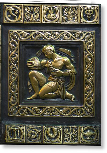 Engraving Greeting Cards - Aristaeus Bronze plate Greeting Card by Chris Flees