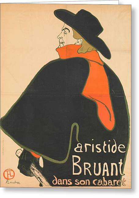 Post-impressionism Greeting Cards - Aristide Bruant In His Cabaret, 1893 Colour Litho Greeting Card by Henri de Toulouse-Lautrec