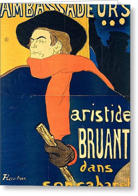 Aristide Bruant In His Cabaret Greeting Card by Toulouse-Lautrec
