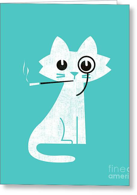 Smoking Greeting Cards - Aristo cat Greeting Card by Budi Kwan