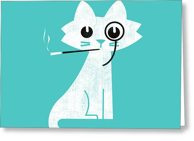 Cigarette Greeting Cards - Aristo cat Greeting Card by Nava Seas