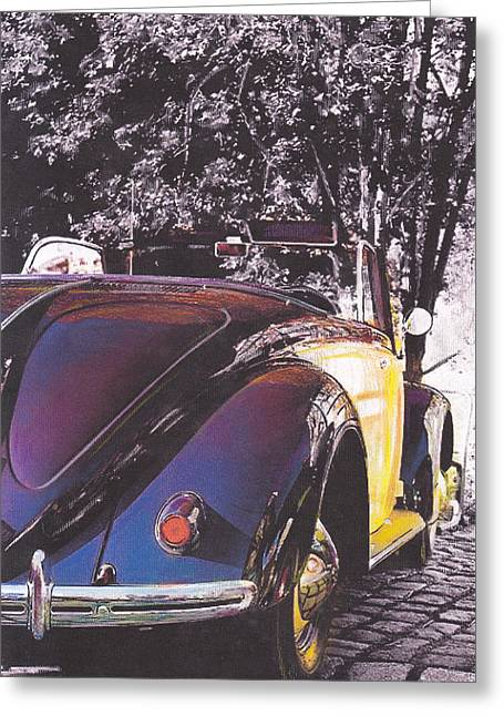Vw Beetle Pastels Greeting Cards - Aristocrat Greeting Card by Art-Haus-Ink